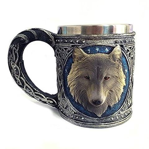 K&C Edelstahl Trinkbecher Wildlife Resin Futter Kreative Retro 3D Wolf Design Wein Cup (Nuovo D & G Degli Occhiali)