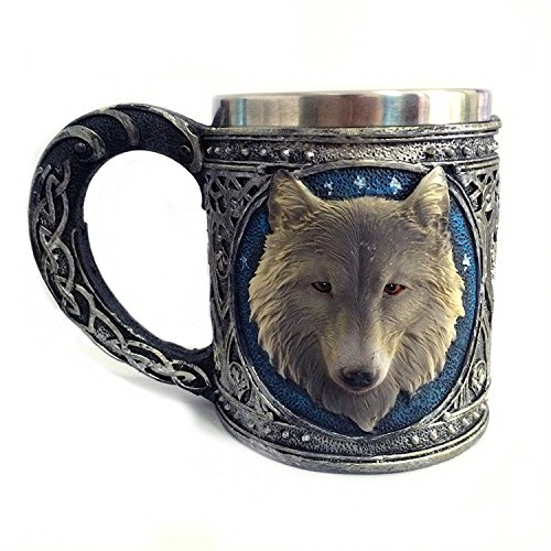 K&C Edelstahl Trinkbecher Wildlife Resin Futter Kreative Retro 3D Wolf Design Wein Cup 450ML (Bierkrug Haken)