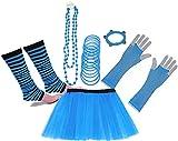 A-Express 80er Damen Neon Tütü Rock Beinstulpen Fischnetz Handschuhe Tüll Fluo Ballett Verkleidung Party Tutu Rock Kostüm Set (36-44, Blau)