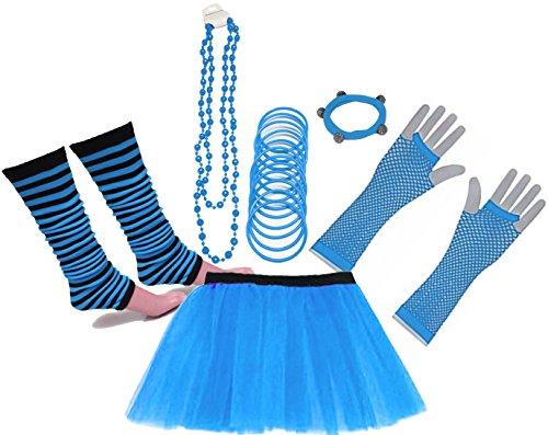 Fischnetz Handschuhe Kostüm - A-Express 80er Damen Neon Tütü Rock Beinstulpen Fischnetz Handschuhe Tüll Fluo Ballett Verkleidung Party Tutu Rock Kostüm Set (36-44, Blau)