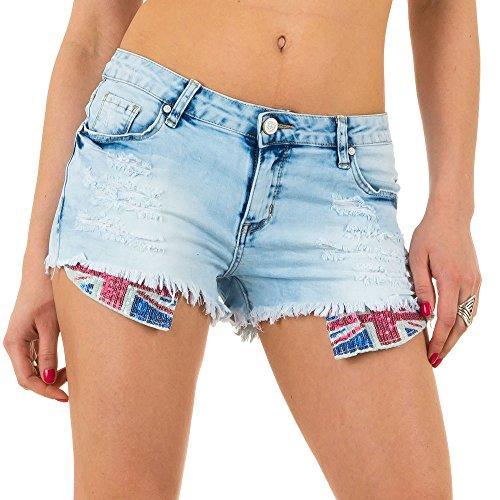 Damen Shorts, DESTROYED PAILLETTEN HOT PANTS SHORTS, KL-J-Q1695 Blau