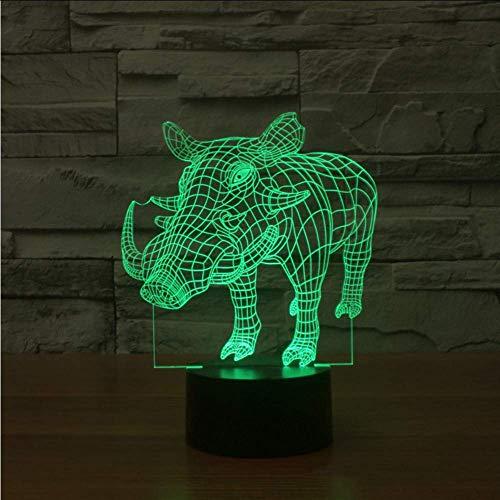 3D Schwein Wildschwein Tier Nachtlicht Led 7 Farben Wickeltisch Schreibtischlampe Schlafzimmer Nacht Acryl Stimmung Leuchte Weihnachtsgeschenke