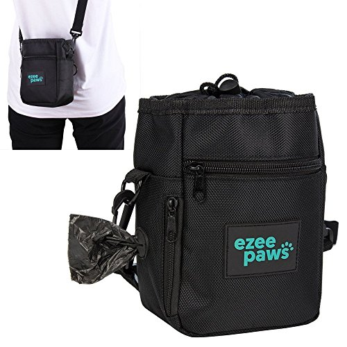 Ezee Paws Dog Walk and Treat Bag With Built-in Waste Poo Bags Dispenser includes 2 Rolls