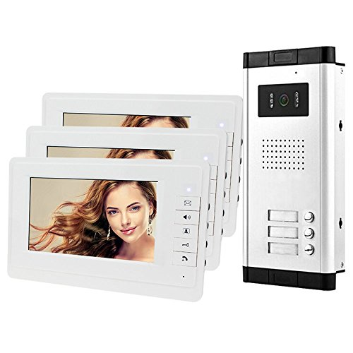 Immagine di HFeng 7 '' LCD Color Wired Videocitofono Videocitofono Kit 700TVL IR COMS Visione notturna Telecamera esterna Campanello per multi 3 appartamenti/famiglia / casa Monitor bianchi 100 metri