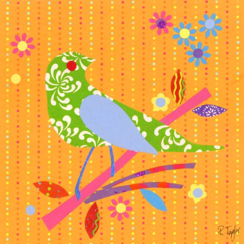 Oopsy Daisy Collage (Oopsy Daisy Mod Bird Gespannte Leinwand Art Wand von Rachel Taylor, 10–1/2 von 10–1/2 Orange)