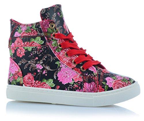 Mädchenschuhe Kinder Sneaker Freizeitschuhe Knöchelschuhe Blumen Sommer Rot