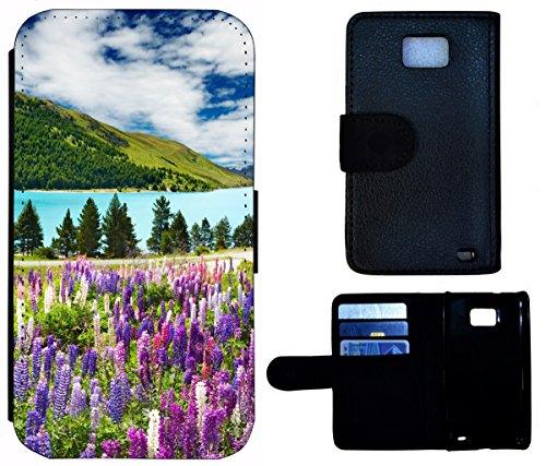 Flip Cover Schutz Hülle Handy Tasche Etui Case für (Apple iPhone 5 / 5s, 1518 Fussball Fußball Schwarz Goldfarben) 1510 Natur Berge See Urlaub Wandern Panorama