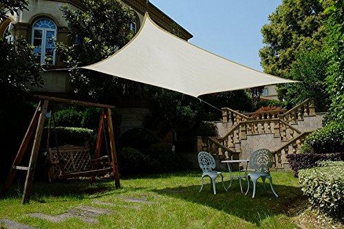 Cool Area Toldo vela de sombra rectangular 3 x 5 metros protección rayos UV, resistente y transpirable (varios colores y medidas), Color crema