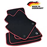 Premium Fußmatten Leon 3 5F Velours Anthrazit Hochwertige Rote Umrandung Original Qualität Automatten