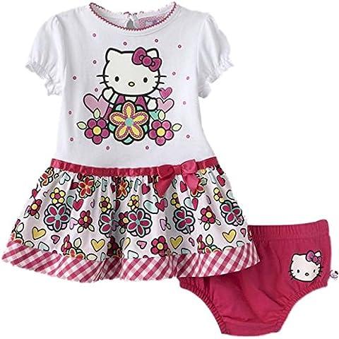 Hello Kitty bebé niñas verano vestido Tanga Rosa/Blanco