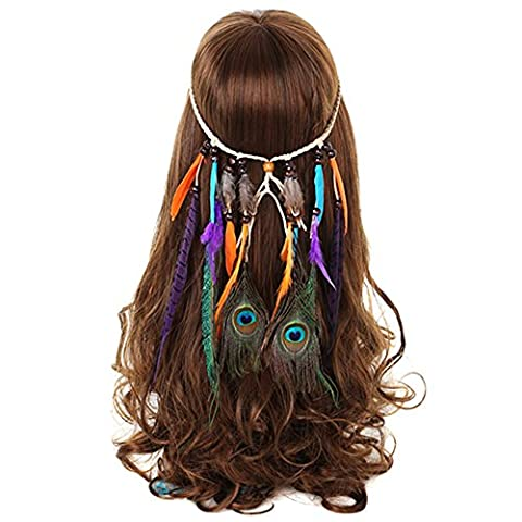AWAYTR Hippie Tassel Headband Feather Hair Ornaments Bohemian Headdress