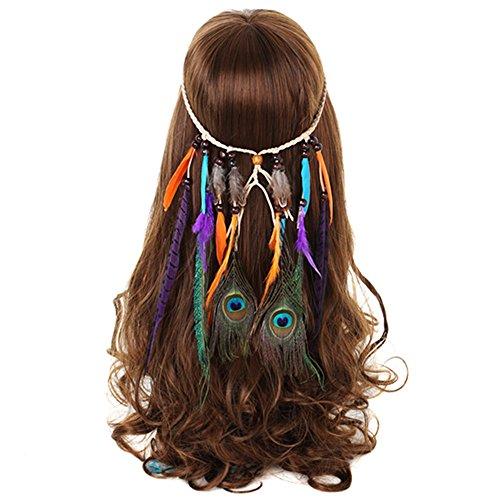 AWAYTR Hippie Quaste Stirnband Feder Haar Schmuck Bohemien (Kostüme Hippie Stil)