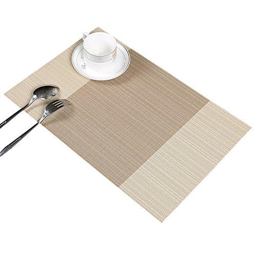 Guwheat Tischset Abwaschbar, PVC Rutschfest Platzsets Abgrifffeste Hitzebeständig Platzdeckchen, Schmutzabweisend und Waschbare, Platz-Matten für küche Speisetisch (6, Beige)