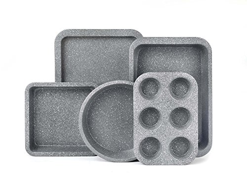 Salter BW05245AR Marble Collection Carbon Steel Non Stick 5 Piece Baking Set, Grey