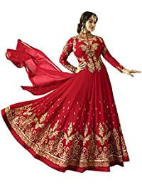 Impressed Collection Red Georgette Party Wear Salwar Kameez