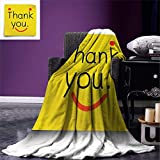 FimGGe Couverture drôle Throw Merci icône Emoji sur Le Bloc-Notes Post-it Post-it Jaune Smiley Face Print Warm Warm Couverture en microfibre-120 cm * 150 cm