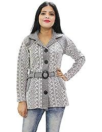Matelco Women's Woollen Printed Coat with Belt
