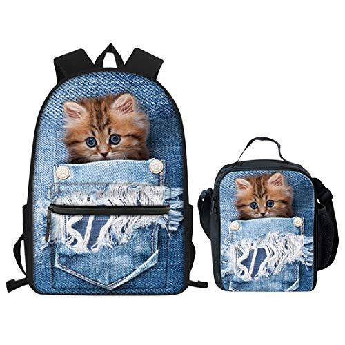 Nopersonality Jungen Mädchen Schulrucksack für Teenager wasserdichte kleine Schultasche und Lunchtasche Set klein, Denim Pocket Cat School Bag Set (Blau) - Nopersonality -
