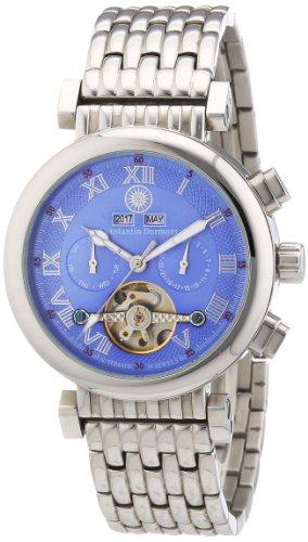 Constantin Durmont Calendar CD-CALE-AT-ST-STST-BL - Reloj analógico automático para hombre, correa de acero inoxidable color plateado
