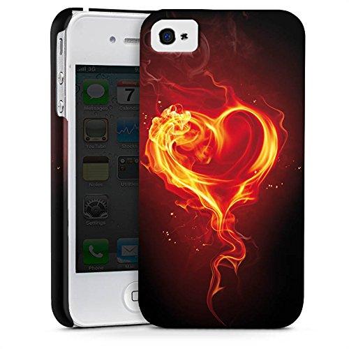Apple iPhone X Silikon Hülle Case Schutzhülle Liebe Flammen Herz Brennendes Herz Premium Case glänzend