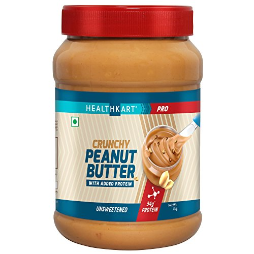 HealthKart Peanut Butter Protein Fortified Unsweetened, Crunchy, 500g
