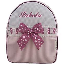 Mochila o Bolsa Infantil lencera Personalizada con Nombre en plastificado de Rayas Rosa y pasacintas de Estrellas