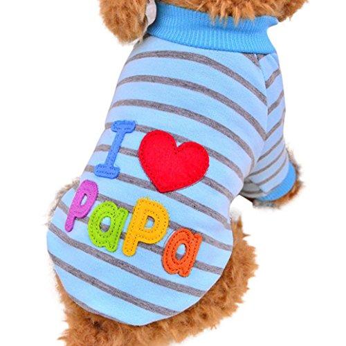 Hmeng Liebe Papa Mama Druck Striped Haustierbekleidung Kleine Puppy Kostüm Mode Bekleidung (L, (Kostüme Einfache Kleidung)