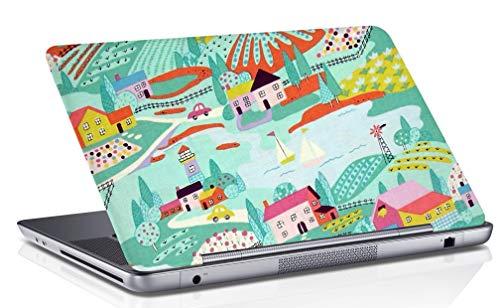 Gedruckt Laptop Haut Abdeckung Meer Grün Kunst Aufkleber Passt 14,1 Zoll Bis 15,6 Zoll ()