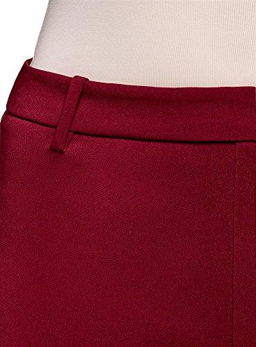 oodji Ultra Damen Enge Hose mit Reißverschluss an der Seite Rot (4900N)