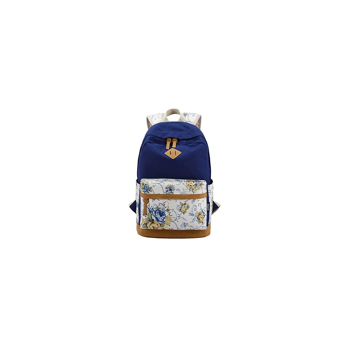 51V5D6x26WL. SS1200  - Moollyfox Las niñas Lona Mochila floral del Ordenador portátil bolso de escuela Mochilas para estudiantes Bolsa de viaje