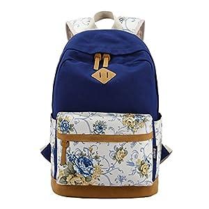 51V5D6x26WL. SS300  - Moollyfox Las niñas Lona Mochila floral del Ordenador portátil bolso de escuela Mochilas para estudiantes Bolsa de viaje