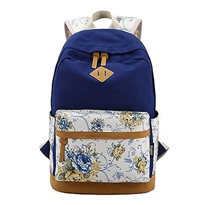 51V5D6x26WL. SS416  - Moollyfox Las niñas Lona Mochila floral del Ordenador portátil bolso de escuela Mochilas para estudiantes Bolsa de viaje