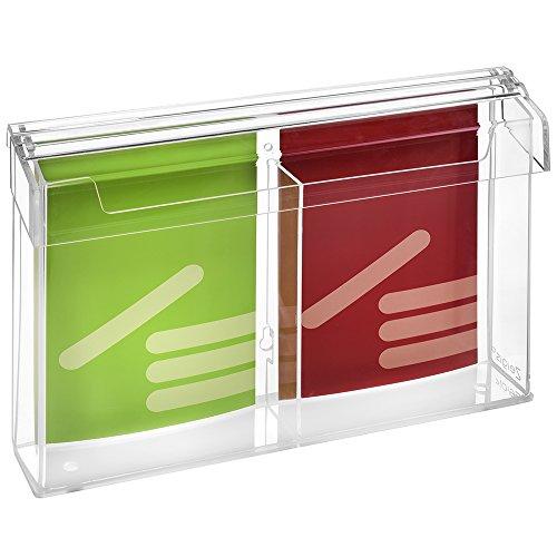 2moduli DIN A5Prospetto scatola/Espositore per volantini in formato verticale, resistente alle intemperie, per esterno, con coperchio, in materiale acrilico trasparente, vetro-zeigis