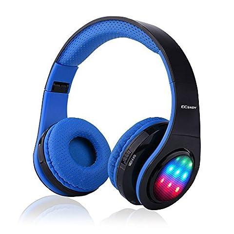 Ecandy Bluetooth-Kopfhörer mit 3 LED-Licht-Modus Stereo-Musik-faltbarer Über-Ohr-Hifi Sound Eingebaute Mikrofon Hands-free Wireless-Berufung für Iphone 6S 6S, 6S Plus-Samsung, Android Smartphone, Tablet, PC, MAC und Laptop. (blau)