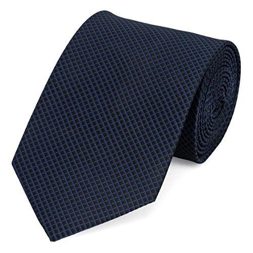 Business Krawatten (Edle Fabio Farini Krawatte, 8 cm in verschiedenen Farben, Navy Blau-Schwarz kariert)