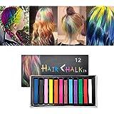 Cheveux craie pour les enfants filles, 12 couleurs vives non-toxiques Safe Set de craie temporaire de cheveux, maquillage lavable Set Wash Out Crayons de couleur changeantes jouets (B)