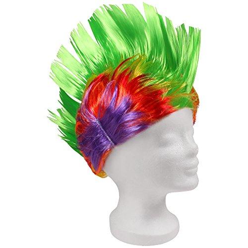 t Irokesen Haarschnitt Irokese - Grün Bunt (Blaue Perücken Für Kinder)