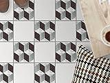 Bodenfliesen Aufkleber - Fliesen für Boden | Sticker Aufkleber Folie für Bodenfliesen - Bad Oder Küche | Fliesenfolie als Alternative zu Fliesenfarbe | 20x20 cm - Design 3D Marmor Cubes