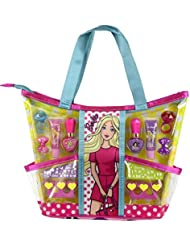 13-teiliges Barbie Beauty-Set – Trendige Make-Up-Tasche mit tollen Styling-Utensilien (Lipgloss, Nagellack, trendige Abziehbildchen, Haarspangen)