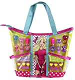 Markwins Barbie Beauty-Set Trendige Make-Up-Tasche mit tollen Styling-Utensilien, 13-tlgs, 1er Pack (Lipgloss, Nagellack, trendige Abziehbildchen, Haarspangen)