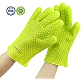 Silicone BBQ Gloves Heat Resistant Oven Mitt for Grilling, Baking, Cooking Potholders