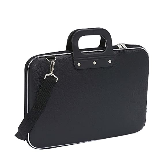 House of Quirk Cady Collection Durable Briefcase Carrying Laptop Bag With Shoulder Strap For 15.6 In Laptops - Black