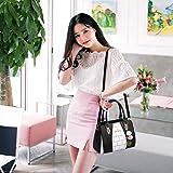 Samxu Ladies PU Leather Handbag with Shoulder Strap, Fashion Handbag Messenger Bag Lightweight with Pompon Pendant for Women Black