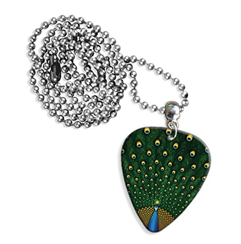 Peacock Feathers Chitarra Pick Necklace Collana (GD)
