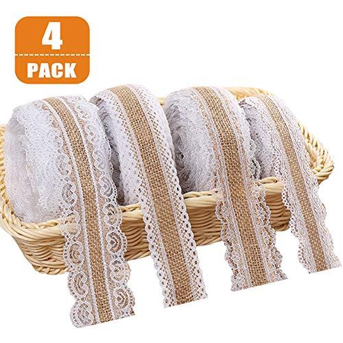 Cinta de encaje de arpillera blanca, rollo de cinta de arpillera natural con encaje para bodas Navidad manualidades regalos, puntillas de encaje vintage y cinta de arpillera en un rollo (4 pcs, 2 m)