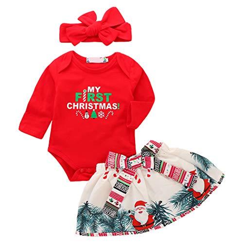 Zoylink Baby Weihnachten Bodysuit Weihnachten Kostüm Langarm Strampler mit Rock Stirnband