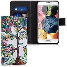 kwmobile Funda para Samsung Galaxy S5 / S5 Neo / S5 LTE+ / S5 Duos - Wallet Case plegable de cuero sintético - Cover con tapa tarjetero y soporte Diseño árbol colorido en multicolor verde blanco