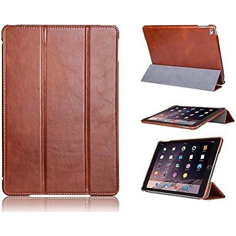 Funda Smart Cover FUTLEX en piel auténtica estilo vintage para el iPad Air 2 – Marrón – Diseño único – Múltiples posiciones de soporte – Función de auto activado / reposo – Hecha a mano – piel auténtica 100% - Máxima