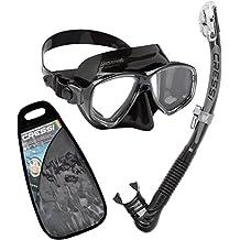 Cressi Marea Dry Gafas y tubo de snorkel Unisex Adulto, Negro, Talla Única