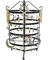 VENKON - Porte Bijoux Rotatif pour le Stockage et la Présentation de Bijouterie Organisateur - Noir - 35 x 23 cm
